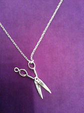 UK Sterling Silver Plated Scissor Charm Necklace Novelty 18 Inch Chain   017