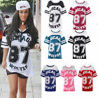 WOMENS CHICAGO 87 WOLVES PRINT VARSITY T SHIRT OVERSIZED LADIES BAGGY TEE TOP