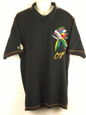 Coogi Men's S/S Polo Shirt - Black Embroidered War Bonnet Native Inspired 3XL