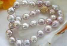 12-13MM AAA SOUTH SEA PURPLE PINK BAROQUE PEARL NECKLACE 18""