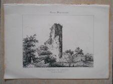 Lithographie Originale XIXème - Château de Lamothe - Mirande - Gers - Léo Drouyu