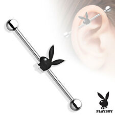 PLAYBOY Black BUNNY Industrial Bar Scaffold Ear Barbells Ring PIERCING JEWELRY
