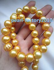 """natural 18"""" AAA 12-11MM SOUTH SEA golden PEARL NECKLACE 14K GOLD CLASP"""
