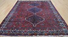 9'6 x 7 Old Authentic Persian Shiraz Tribal Animal Hand Knotted Estate Wool Rug