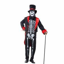 Adult Mens Skeleton Skull Suit Fancy Dress James Bond Halloween Horror Costume