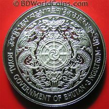 1979 BHUTAN 3 NGULTRUM SILVER PROOF KING RAVEN DRAGONS LOTUS PRAYER WHEEL w/COA
