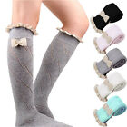 Girls Crochet Lace Trim Cotton Knit Footed Leg Boot Socks Knee High Stockings