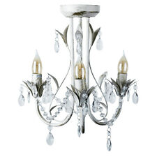 Vintage Shabby & Chic Style Antique White / Cream 3 Way Ceiling Light Chandelier