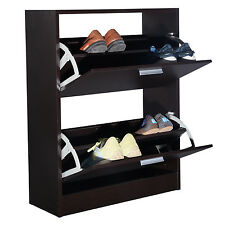 COSTWAYShoe Rack Storage Cabinet 2 Drawers Wood Furniture Entryway Dark Brown