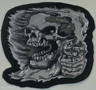 SKULL DEATH REAPER EMBROIDERED CLOTH SEW IRON ON PATCH BADGE BIKER MOTORCYCLE