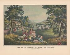 """1952 Vintage Currier & Ives """"THE FOUR SEASONS OF LIFE: CHILDHOOD"""" COLOR Litho"""