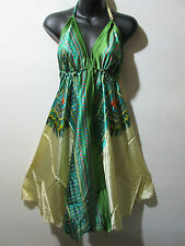 Scarf Dress Fits S M L XL Sexy Green Dashiki Print Silky Backless Halter NWT 01A