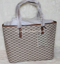 NWT! MICHAEL KORS Emry Large Signature Logo Shoulder Tote Bag Purse Natural $328
