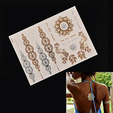 2PCS Flash Tattoo Metallic Temporary Gold Silver Body Henna Transfer Sticker JY