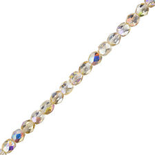 "Czech Fire lucidate Perline 6mm Crystal Giallo Rainbow 6 ""Strand 25 Piece (G106 / 2)"