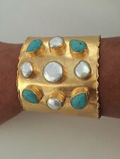 Spectacular Large Satin Gold Tone Mother of Pearl & Turquoise Cuff Bracelet