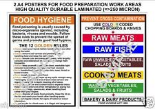 FOOD HYGIENE PREVENT CROSS CONTAMINATION & KITCHEN RULES 2 A4 LAMINATED POSTERS