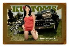 Ink n Iron Kustom Car Park Here Tattoo Pin Up Girl Retro Sign Blechschild Schild