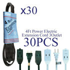 Lot  Household 4 FT Power Extension Cord Cable W/Cover 3 Outlet WHT,GRN,BRN