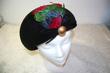 Womens Ladies Vintage Hat with Feathers