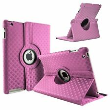 Pink Fashion Diamond Leather 360° Rotating Stand Case Cover For iPad 2/3/4