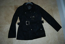 NWT Black Faux Suede Button Front Belted EA COLLECTION Italy Style Coat Large