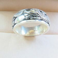 New 925 Sterling Silver Ring 8mm Bless Dragon Band Ring Size 9.25 S925