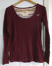 Women's Abercrombie & Fitch Hollister Large L 100% Cotton Long Sleeve Red Shirt