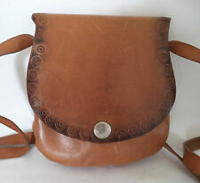VINTAGE BROWN TOOLED LEATHER MINI SATCHEL SHOULDER BAG HANDBAG