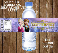 Personalised Frozen Water Bottle Labels Birthday Children Party Favour