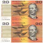 1983 $20 Aust Banknotes R408 Johnston/Stone Consec Pair (VLK 842650-51) UNC