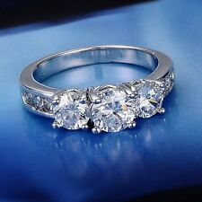 Valentine's Day Gift CZ White Gold Filled Ring Women Wedding Engagement Jewelry