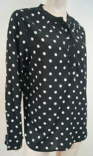 MAISON SCOTCH CHAPEAU Black & White Polka Dot Collarless Blouse Top Sz:4 XL