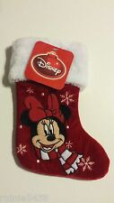 "Small 12"" Disney Minnie Mouse Christmas Stocking Red Black White"