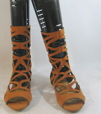 TAN WOMEN SHOES ROMAN GLADIATOR MID-CALF SEXY SANDALS  SIZE  10