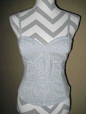 BeBe gray/white pinstripe lined stretchy corset cami spaghetti strap top size 6