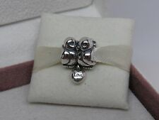 New w/Pandora Hinged Box Pandora Sterling Silver Love Birds Charm #791033