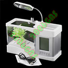 Desktop Fish Tank LED Lamps USB LCD Aquarium Clock Timer Calendar Office Home