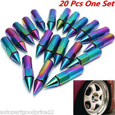 20PC RACING NEO CHROME SPIKED ALUMINUM EXTENDED 60MM LUG NUTS WHEELS/RIMS 12X1.5