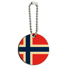 Norway National Country Flag Wood Wooden Round Key Chain