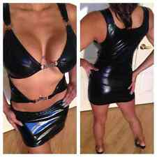 Connies Exclusive Wet look stretch micro mini dress S