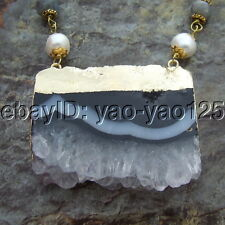 Faceted labradorite White Round Pearl Necklace Agate Slice Pendant