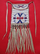 NORTHERN PLAINS BEADED LEATHER TOBACCO, STRIKE-A-LITE, MEDICINE BAG,  BUF-00497