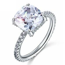925 Solid Silver 5 Carat Cushion Cut Created Diamond Ring Engegemant