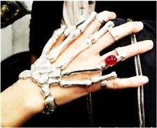 Halloween Exaggerate Punk Silver Skeleton Hand  Link Ring Harness Skull Bracelet