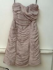 H&M STRAPLESS RUCHED DRESS - SIZE 6 Beige Tan ( Cocktail / Prom / Party )