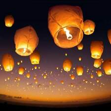 (50) White Paper Lanterns Sky Fly Candle Lamp for Parties Anniversary USA SELLER
