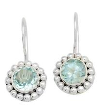 Natural Blue Topaz Gemstone Earrings Solid 925 Sterling Silver Jewelry IE20661
