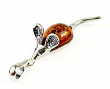 925 Sterling SIlver & Baltic Cognac Amber Pendant - Mouse 568