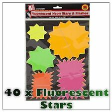 Pack Of 40 Flourescent Neon Star & Flash Cards - Fluorescent Stars & Flashes